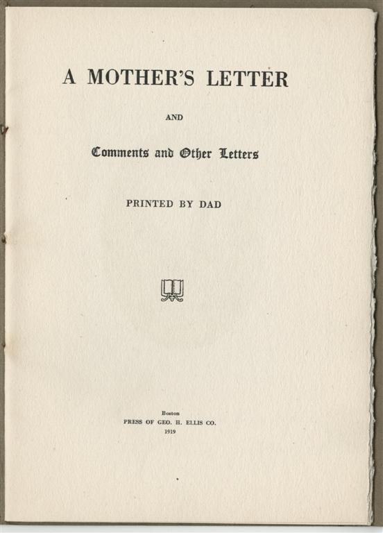 A Mother s Letter – The Rosenbach