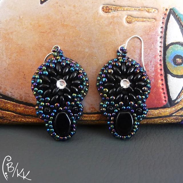 kolczyki haft koralikowy z superduo | superduo bead embroidery earrings