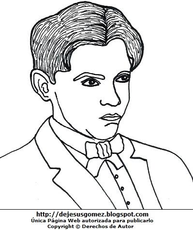 Imagen de Federico García Lorca para colorear pintar imprimir. Dibujo de Federico García Lorca de Jesus Gómez