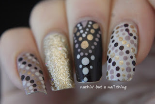 gold cream polka dot nail art