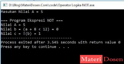 Contoh Program Operator Logika NOT