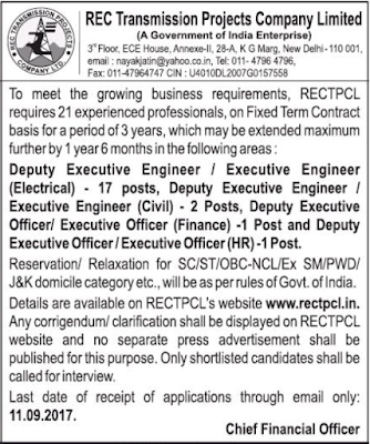 RECTPCL (REC Transmission Projects Company Limited) Recruitment Notification 2017