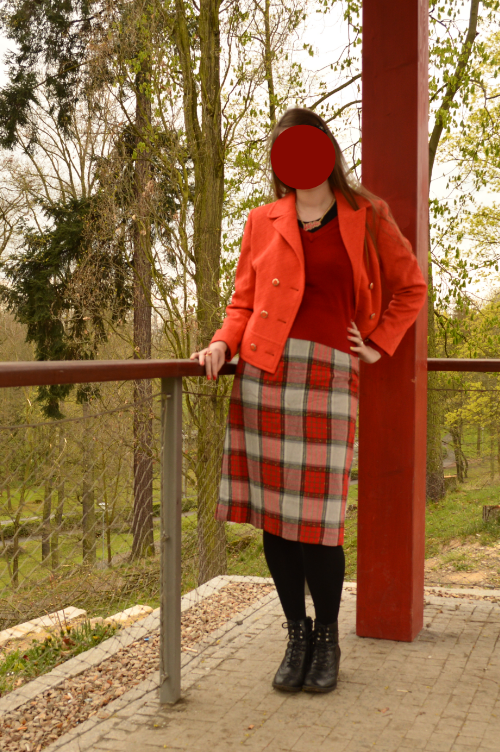 outfit, red, yellow, orange, retro
