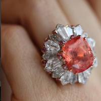 David Morris - 12.30ct Padparadscha sapphire set in a ring