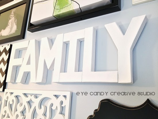 family, paper mache letters word art, black and white