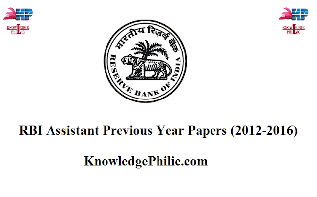 RBI Assistant Previous Year Papers (2012-2016) With Solutions in PDF For FREE