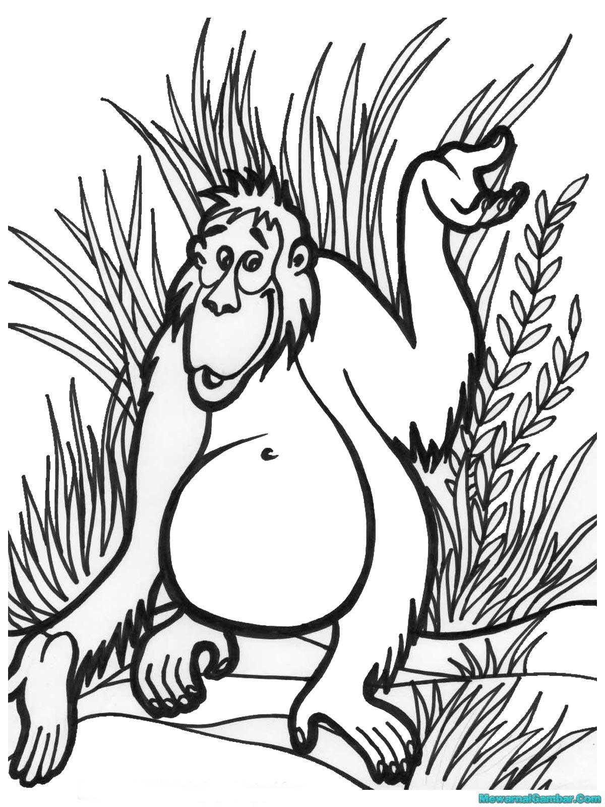 Mewarnai Gambar Gorila Di Hutan Belantara