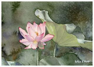 夜明けの暗いバックに咲く一輪の蓮の花と大きな葉。水彩画。
