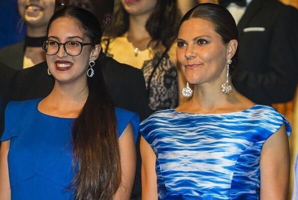 Crown Princess Victoria wore a Camilla Thulin sea blue print dress