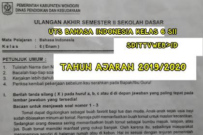 SOAL UTS/PTS Bahasa Indonesia SD/MI Kelas 6 Semester 2 Tahun Ajaran 2019/2020