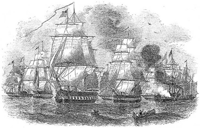 Drawing of Perry's Squadron during the Second Visit