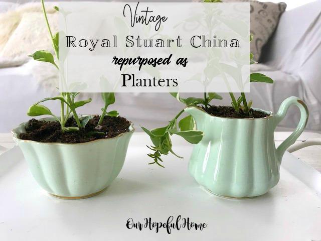vintage Royal Stuart Spencer Stevenson china sugar creamer sea foam green