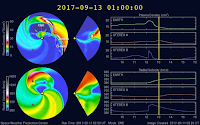 Model WSA-Enlil prognozujący ruch wiatru słonecznego i koronalnych wyrzutów masy przewiduje całkowite rozminięcie CME z Ziemią. Jedyna sugerowana zmiana warunków wiatru słonecznego na niewielką skalę spodziewana jest w związku z napływem niewielkiego strumienia wiatru słonecznego podwyższonej prędkości emitowanego przez północną dziurę koronalną. Gdyby model okazał się trafny jakakolwiek burza magnetyczna wydaje się w takiej sytuacji bardzo mało prawdopodobna. Credits: SWPC