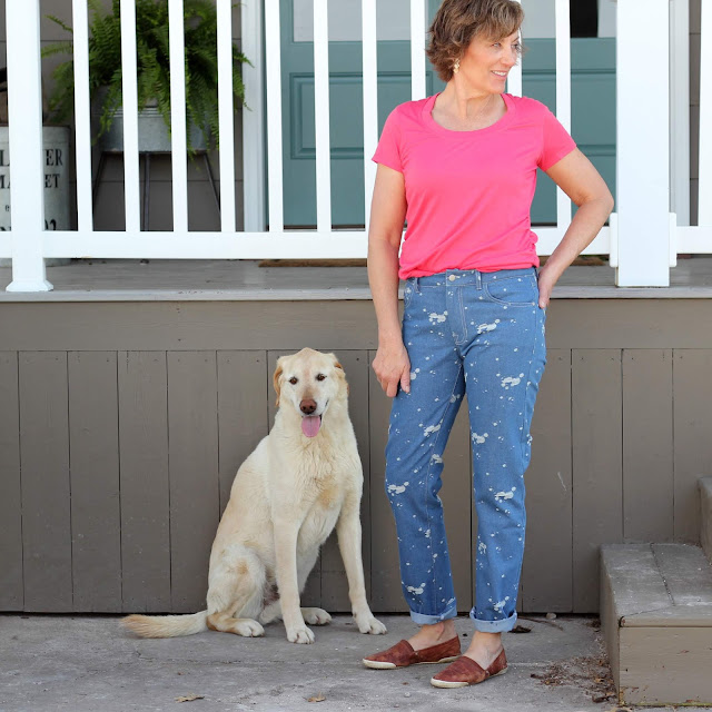 Morgan Jeans made with Style Maker Fabrics' distressed denim