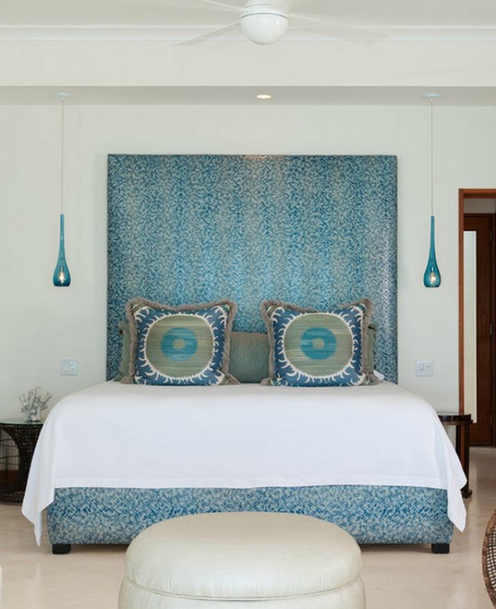 Coastal modern master bedroom in aqua and white