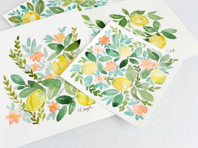 Original Watercolor Lemons, Leaves, and Blossoms paintings by Elise Engh
