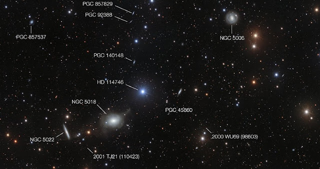 This annotated view of the surroundings of the elliptical galaxy NGC 5018 shows many of its neighbours. It also reveals a few asteroids that were captured by chance during the deep exposures needed to reveal the delicate streams of stars between the galaxies.  Credit: ESO/Spavone et al.
