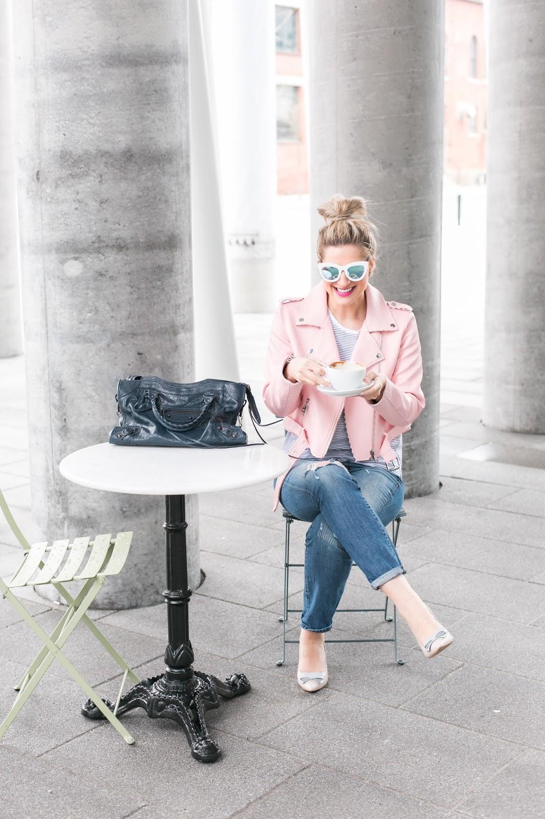 Bijuleni - Blush tone leather jacket