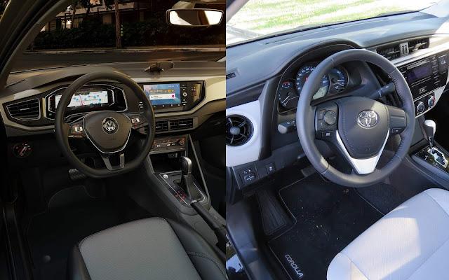 Toyota Corolla x Volkswagen Virtus - interior - painel