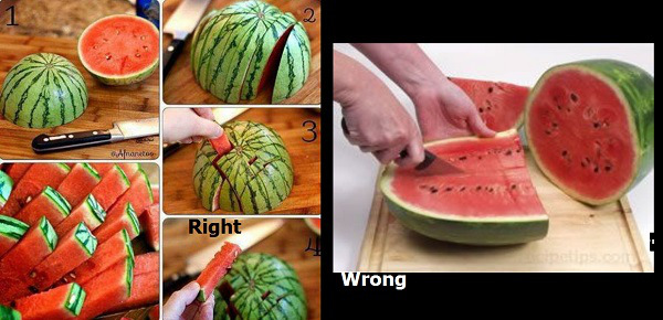 21 Daily Things You've Been Doing Incorrectly All Your Life & How To Do Them Right - Slicing watermelons is not the best idea. They should be cut crosswise instead.