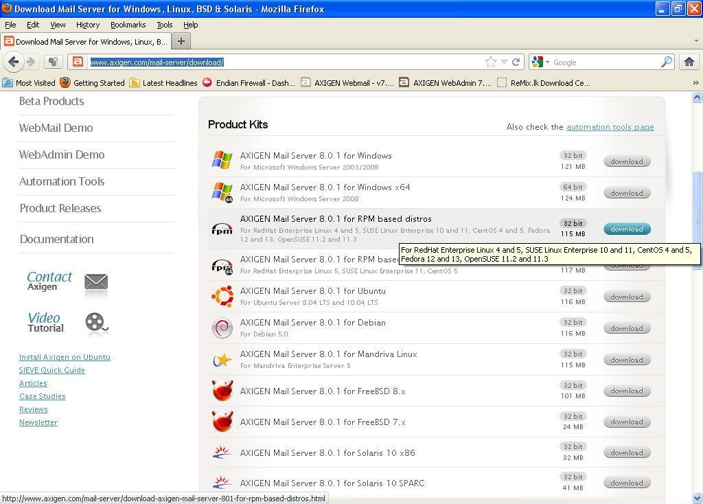 Axigen mail server 8 0 1 instalation on CentOS release 5 3 (Final