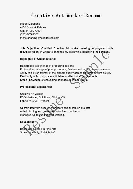 Creative Art Worker Resume Sample Use this FREE Sample Creative Art