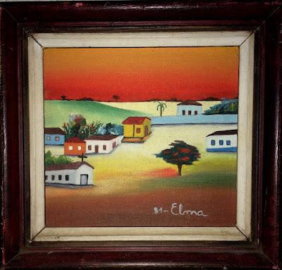 Óleo s/tela - Cidadezinhas das minhas lembranças de infância, pequenas cidades como se vistas a distância e num plano mais alto. Elma Carneiro