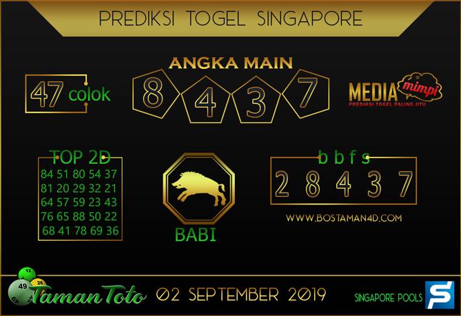 Prediksi Togel SINGAPORE TAMAN TOTO 02 SEPTEMBER 2019