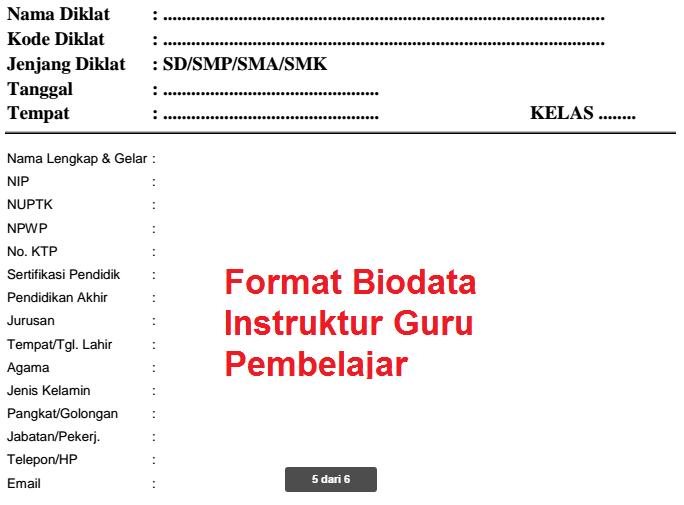 Contoh Format Biodata Instruktur Guru Pembelajar Info Guru Terbaru