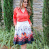 Meu Look: Saia Midi & Camisa Coral - Sunamita