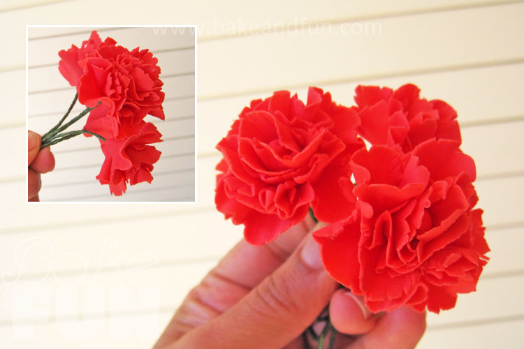 how to make a fondant carnation using a cutter
