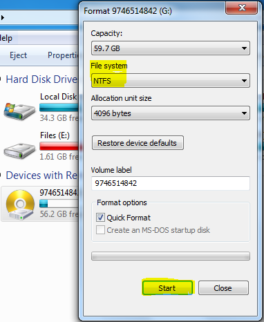 Formatting pendrive from FAT32 to NTFS