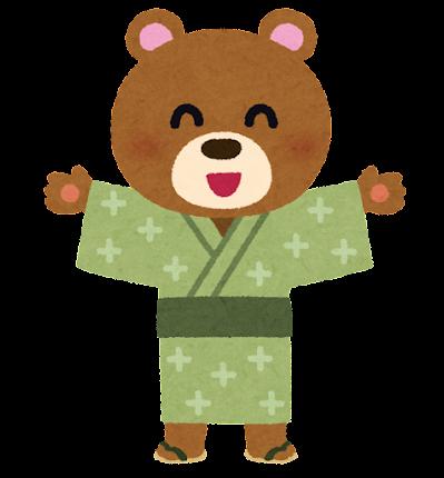 浴衣を着たクマのキャラクター