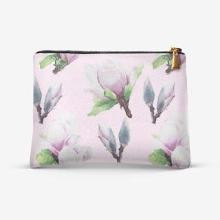 Kosmetichka s printom magnoliya na rozovom | Inna Yakuskeva's blog
