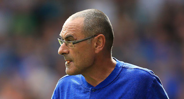 Chelsea coach Maurizio Sarri chewing a cigarette during game against Huddersfield
