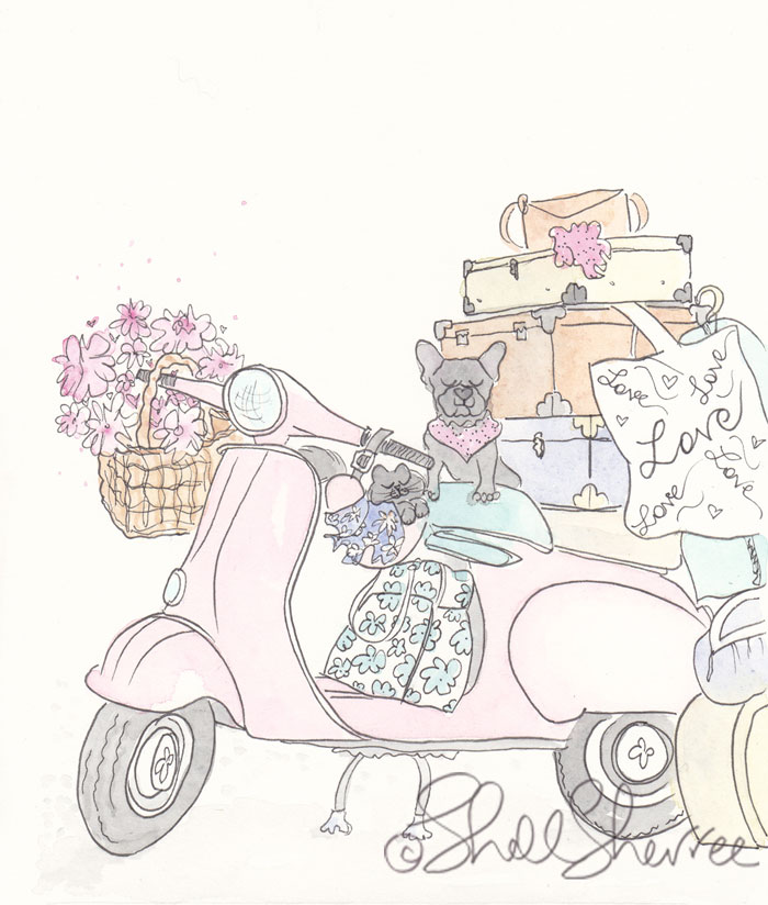 Pink Scooter Frenchie & Kitty Road Trip illustration  © Shell Sherree all rights reserved