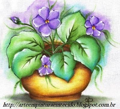 Pintura em Tecido Flores violetas