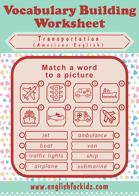 ESL transportation worksheet word to picture matching activities