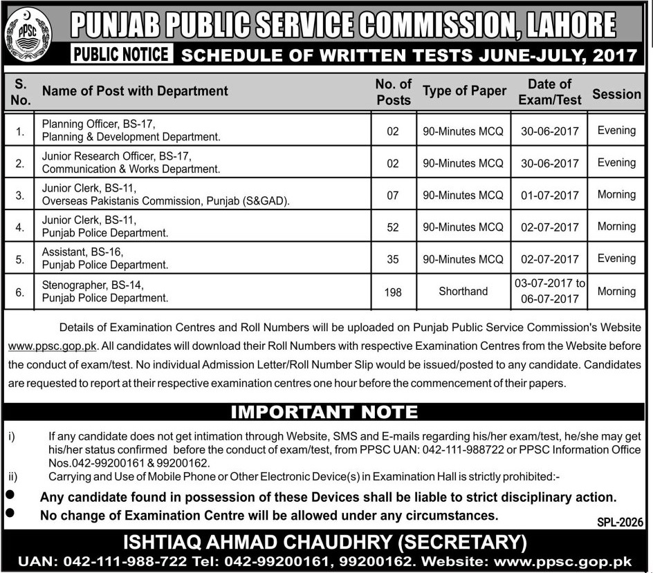 PPSC  Jobs in Punjab Public Service Commission Lahore 21 June 2017