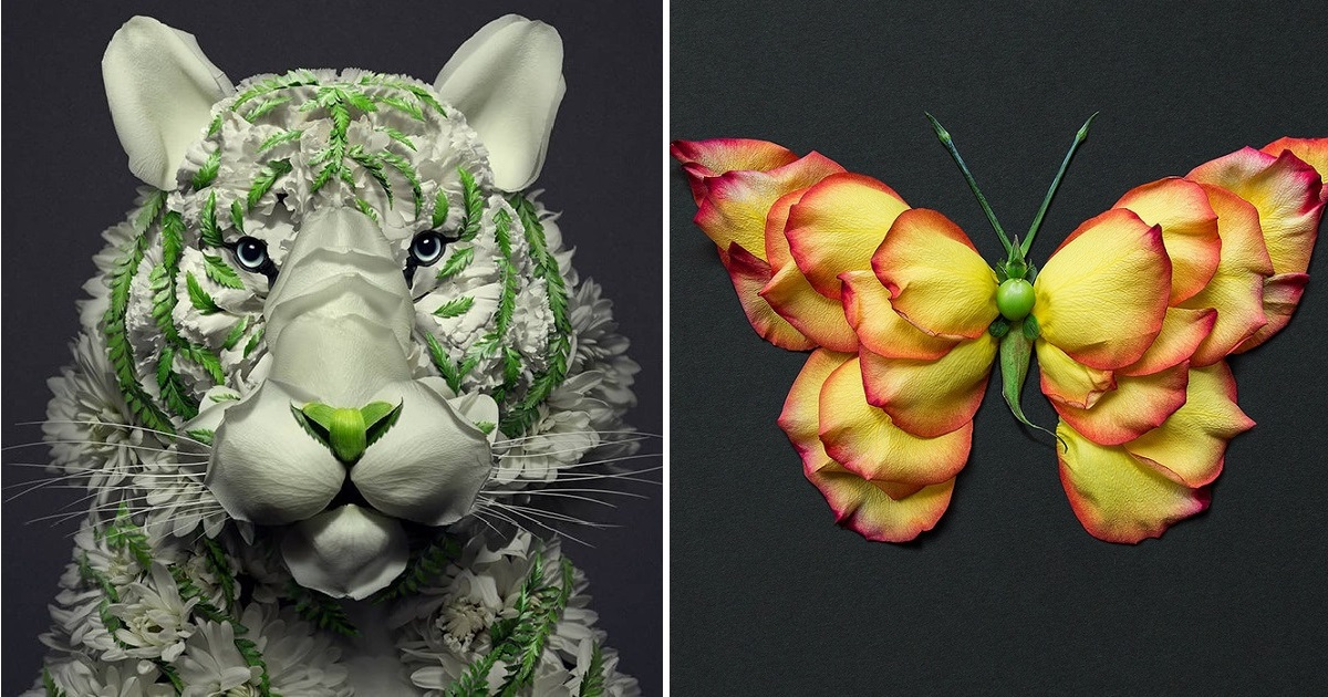 Artist Transforms Flowers Into Mesmerizing Animal Sculptures