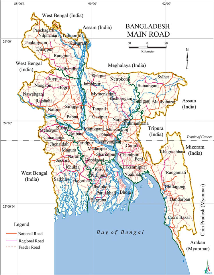 Main Road Map Bangladesh