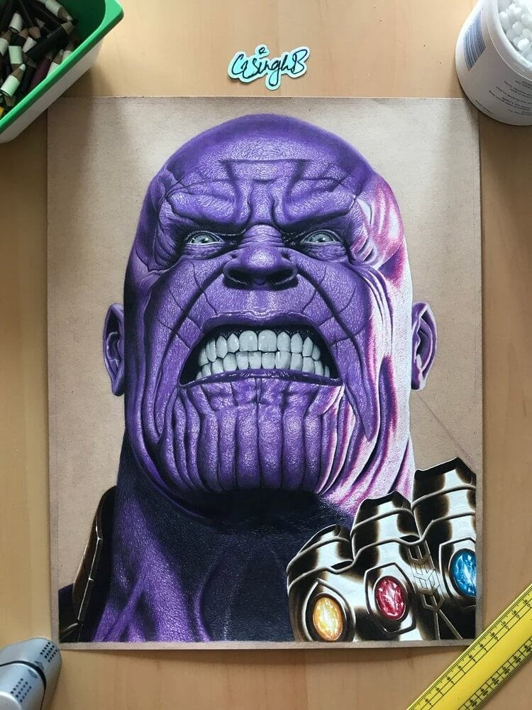 14-Thanos-Marvel-Comics-Avengers-Gurekbal-Bhachu-Realistic-Celebrity-Portraits-Drawings