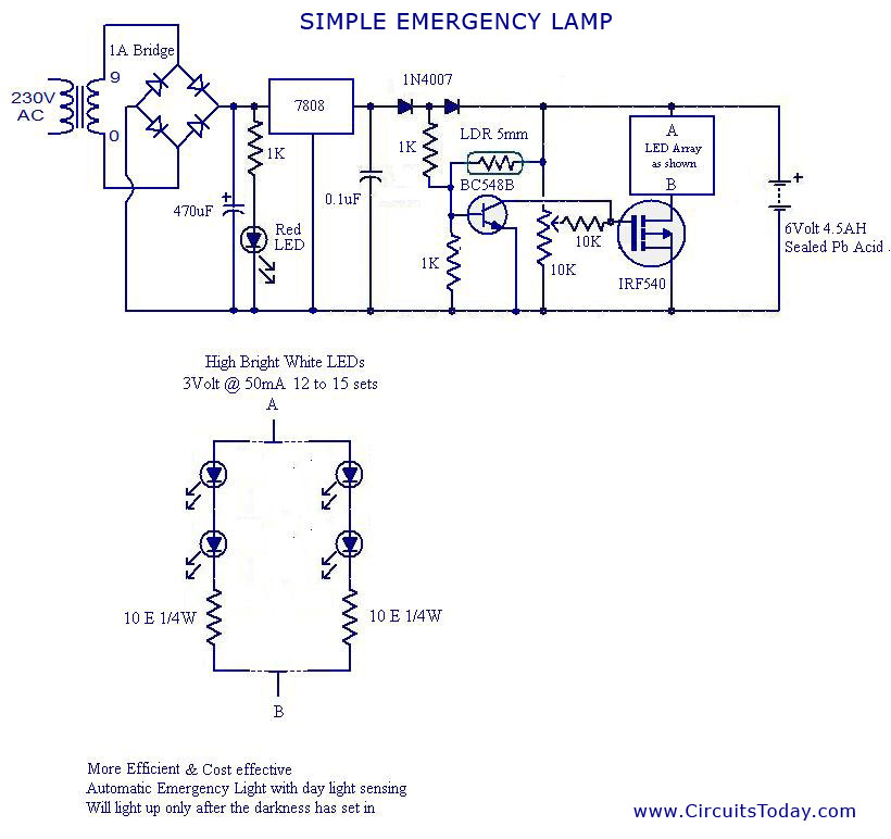 Automatic Ldr Controlled Led Emergency Lamp Circuit
