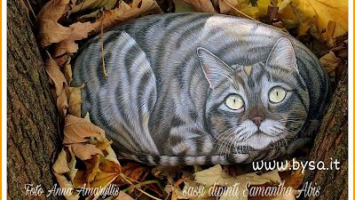 gatti dipinti sasso