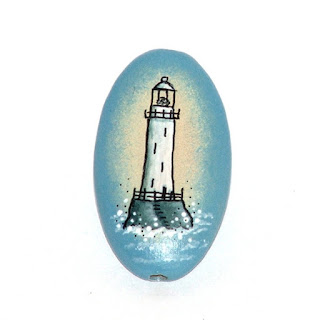 lighthouse wooden hand painted bead