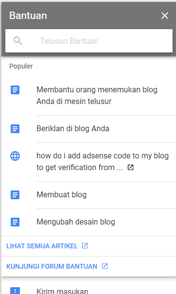 Menu bantuan blog
