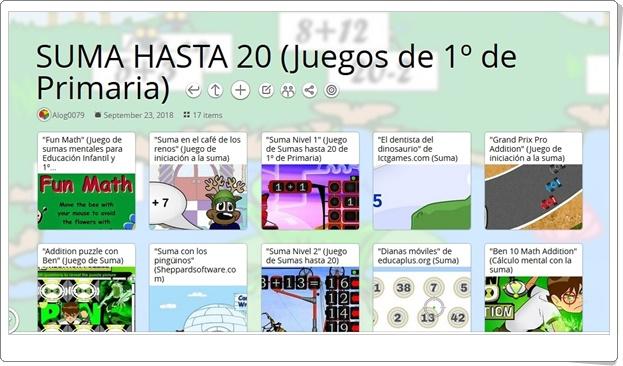 """""""17 Juegos para la práctica de LA SUMA HASTA 20 en 1º de Primaria"""""""