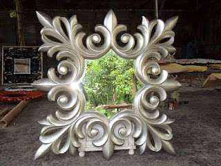 cermin mahoni antik