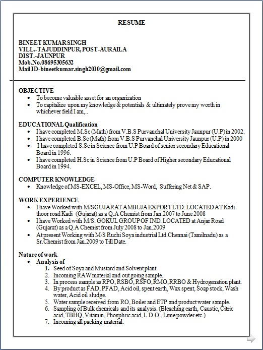 sample resume 1 year experience manual testing professional