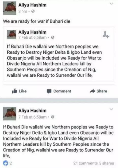 We are ready to destroy Igboland if Buhari dies, Northerner Aliyu Hashim says